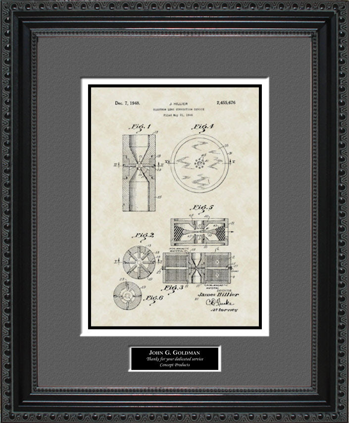 Personalized Electron Microscope Patent Art, Hillier, 1948