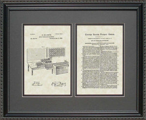 Punch Card Tabulator Patent, Art & Copy, Hollerith, 1889, 16x20