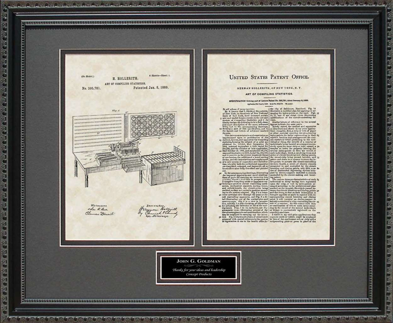 Personalized Punch Card Tabulator Patent, Art & Copy, Hollerith, 1889