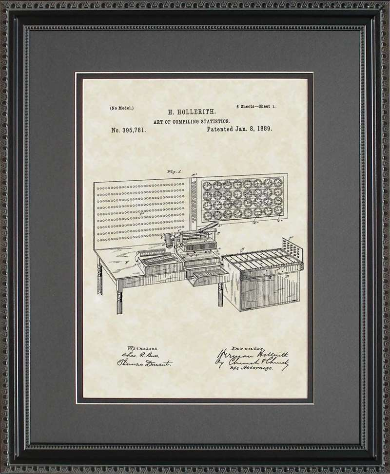 Punch Card Tabulator Patent Art, Hollerith, 1889