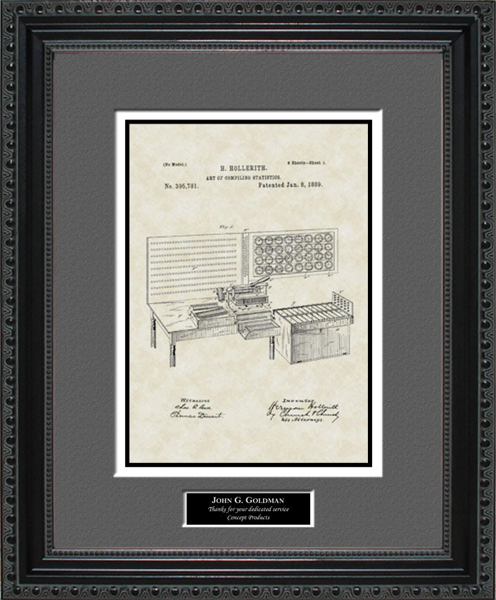 Personalized Punch Card Tabulator Patent Art, Hollerith, 1889