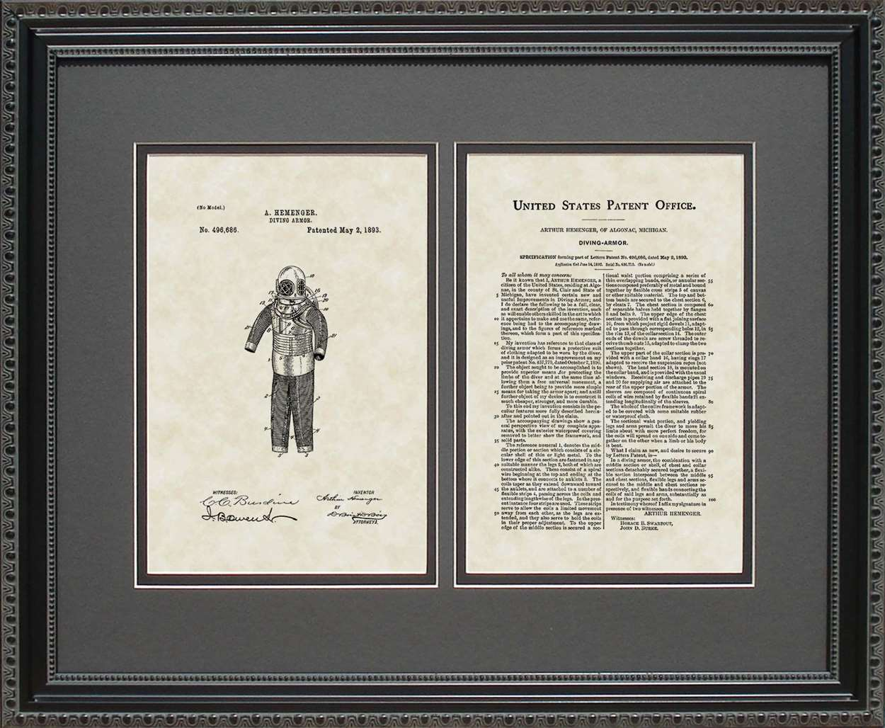 Diving Suit Patent, Art & Copy, Hemenger, 1893, 16x20