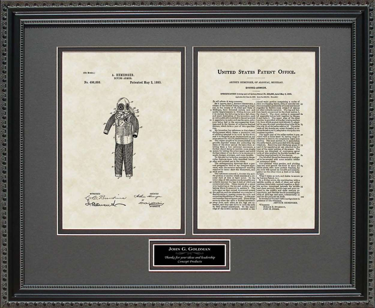 Personalized Diving Suit Patent, Art & Copy, Hemenger, 1893