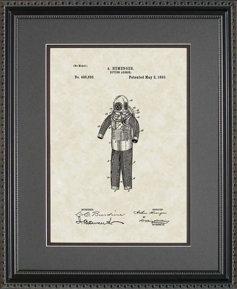 Diving Suit Patent Art, Hemenger, 1893
