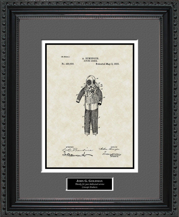 Personalized Diving Suit Patent Art, Hemenger, 1893