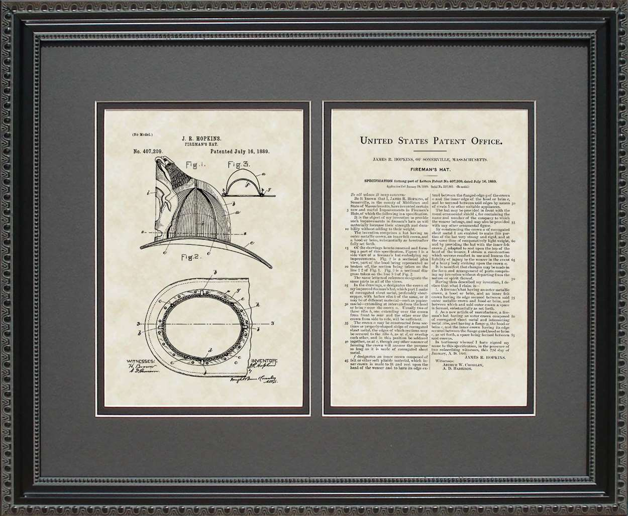 Fireman's Helmet Patent, Art & Copy, Hopkins, 1889, 16x20