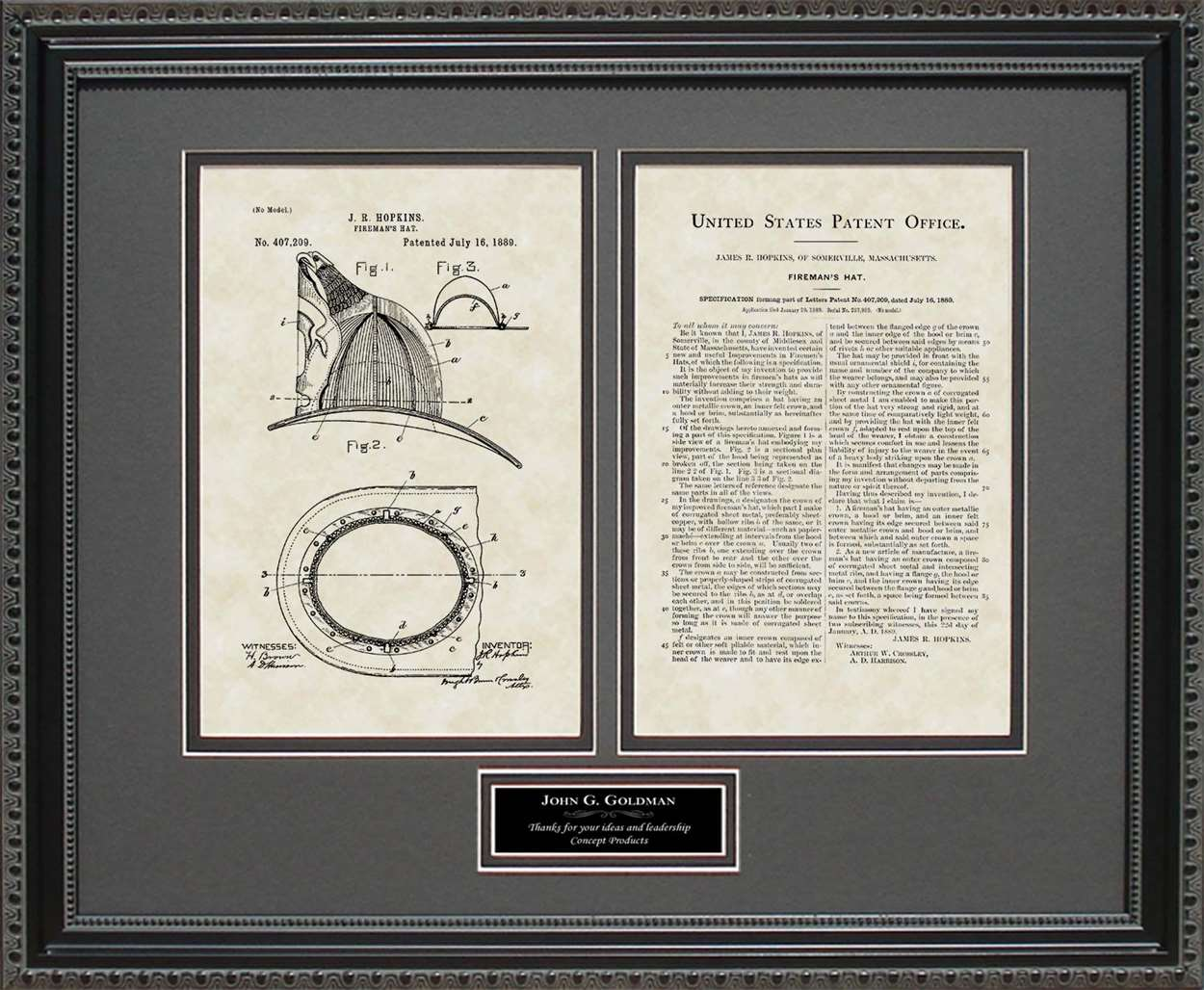 Personalized Fireman's Helmet Patent, Art & Copy, Hopkins, 1889
