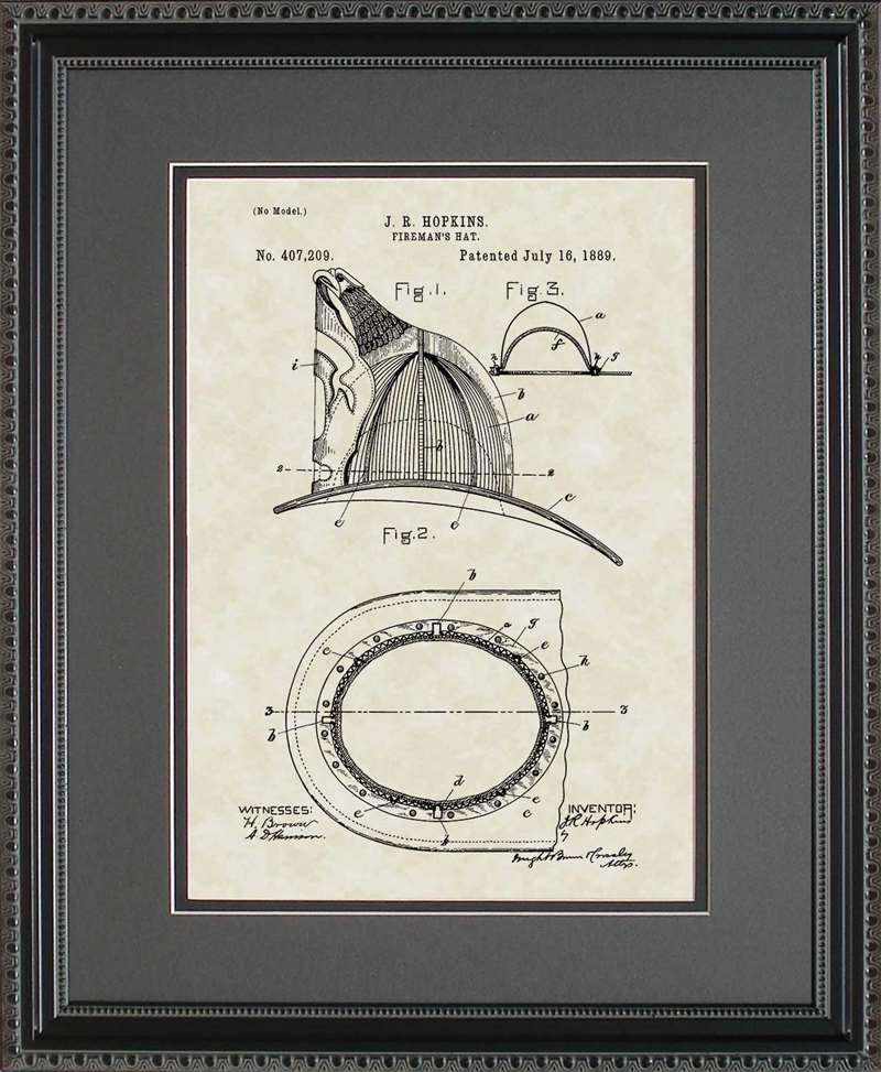 Fireman's Helmet Patent Art, Hopkins, 1889
