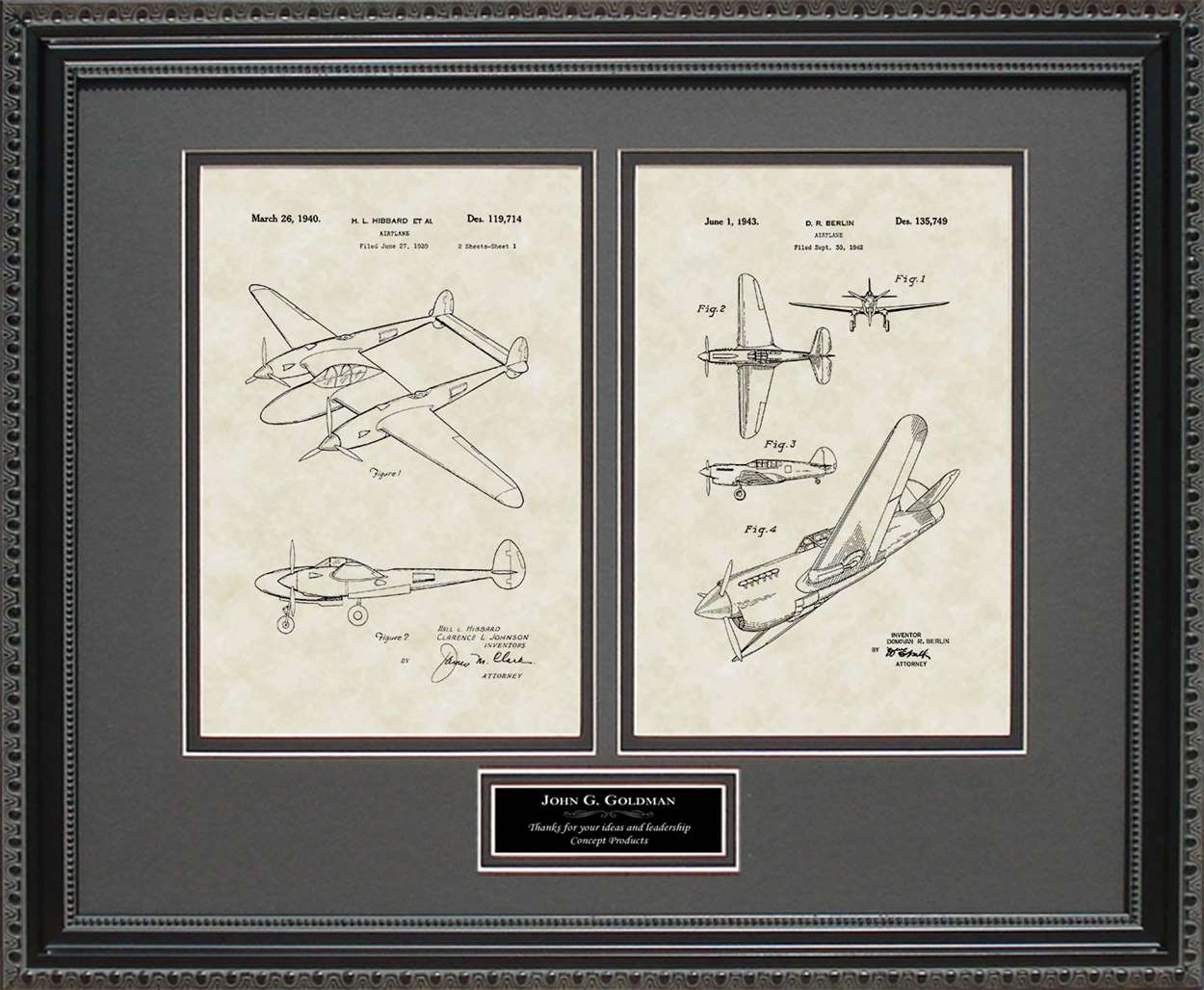 Personalized P-38 & P-41 Patents, 16x20