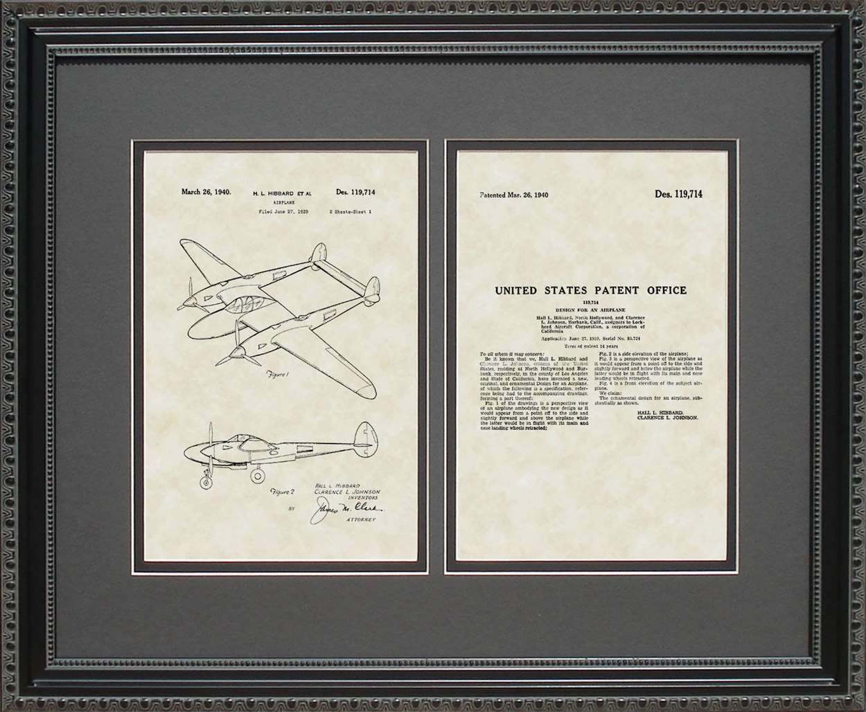 P-38 Aircraft Patent, Art & Copy, Hibbard, 1940, 16x20