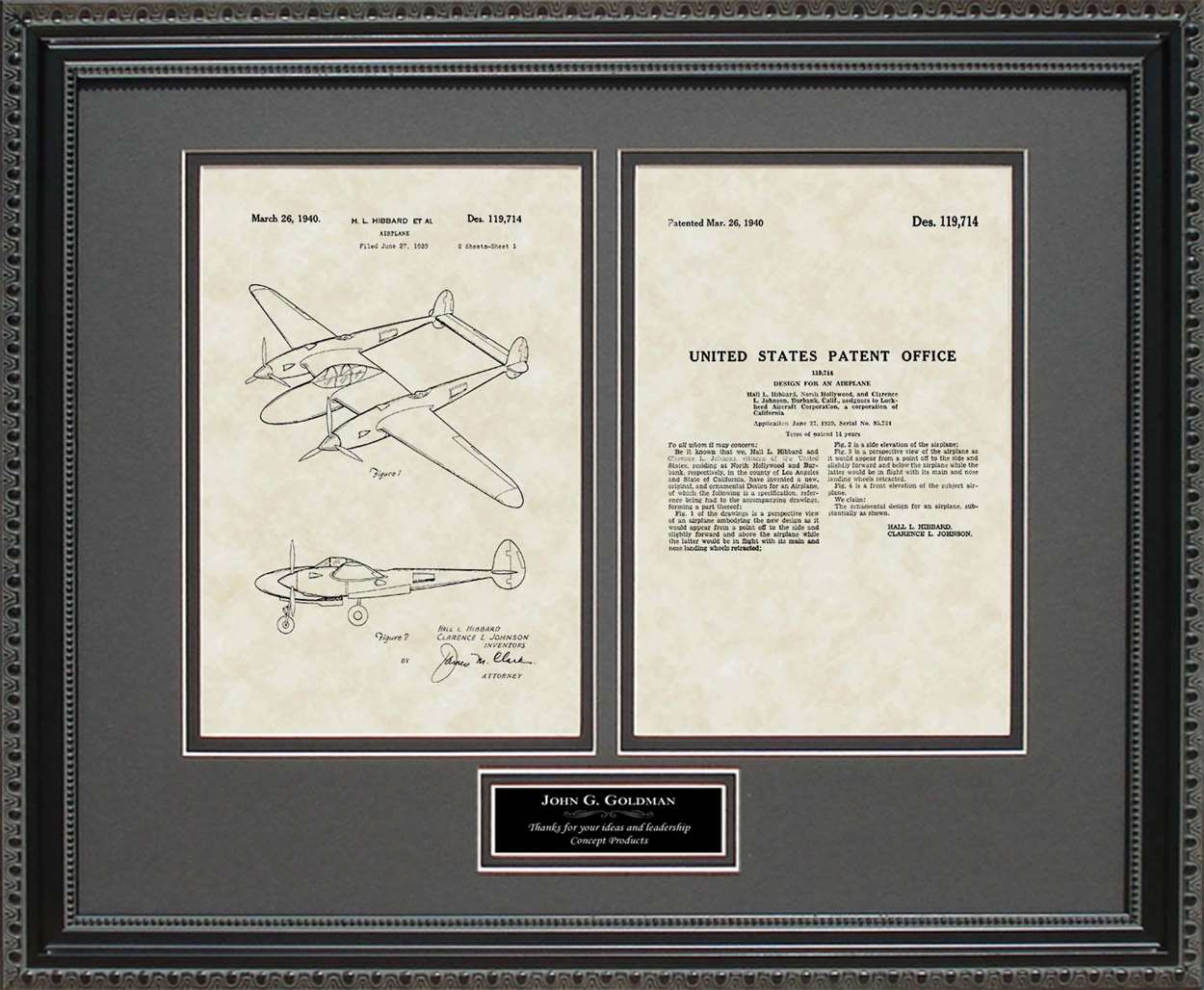 Personalized P-38 Aircraft Patent, Art & Copy, Hibbard, 1940