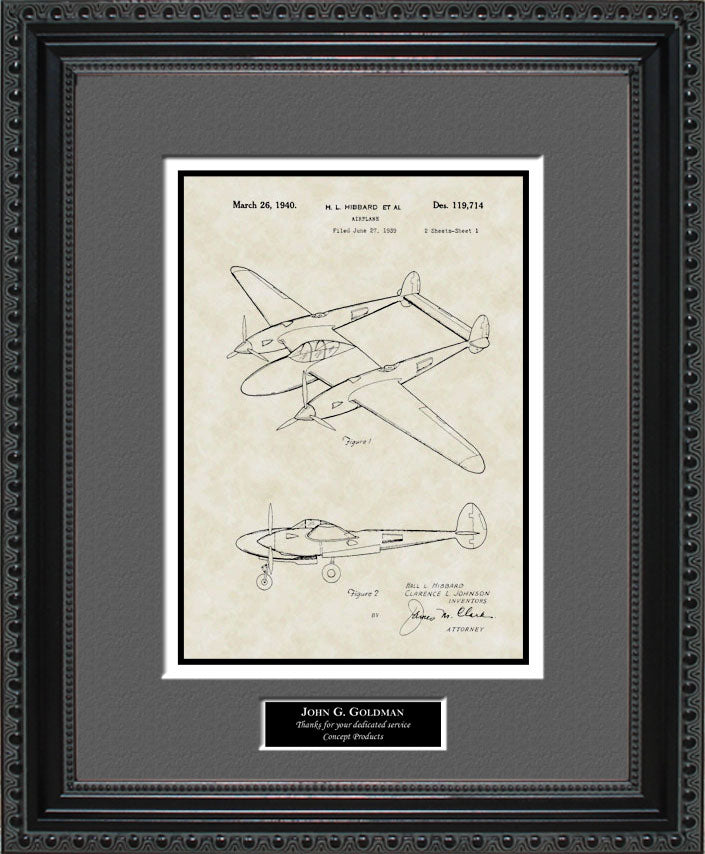 Personalized P-38 Aircraft Patent Art, Hibbard, 1940