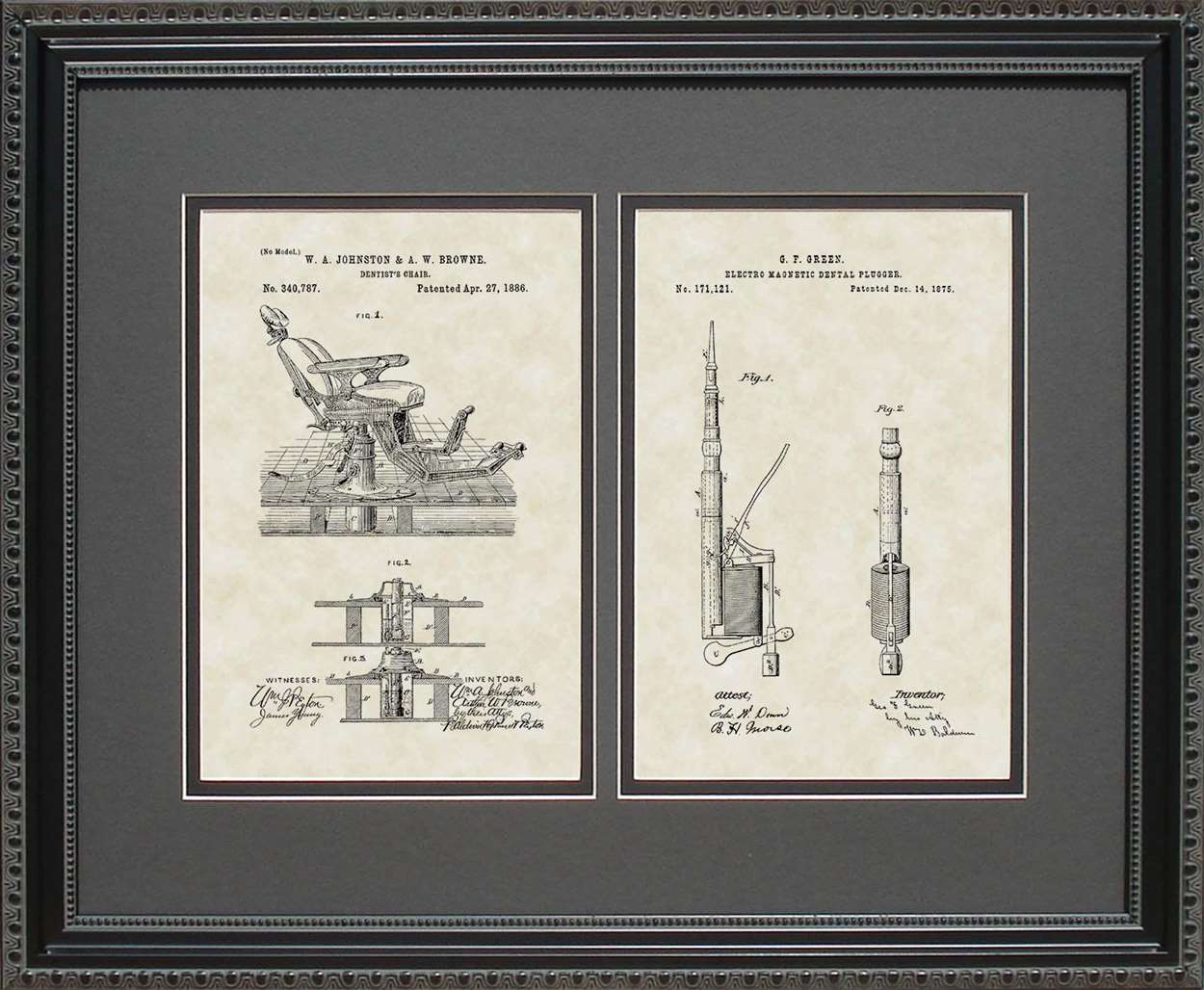 Dentist Chair & Dental Drill Patents, 16x20