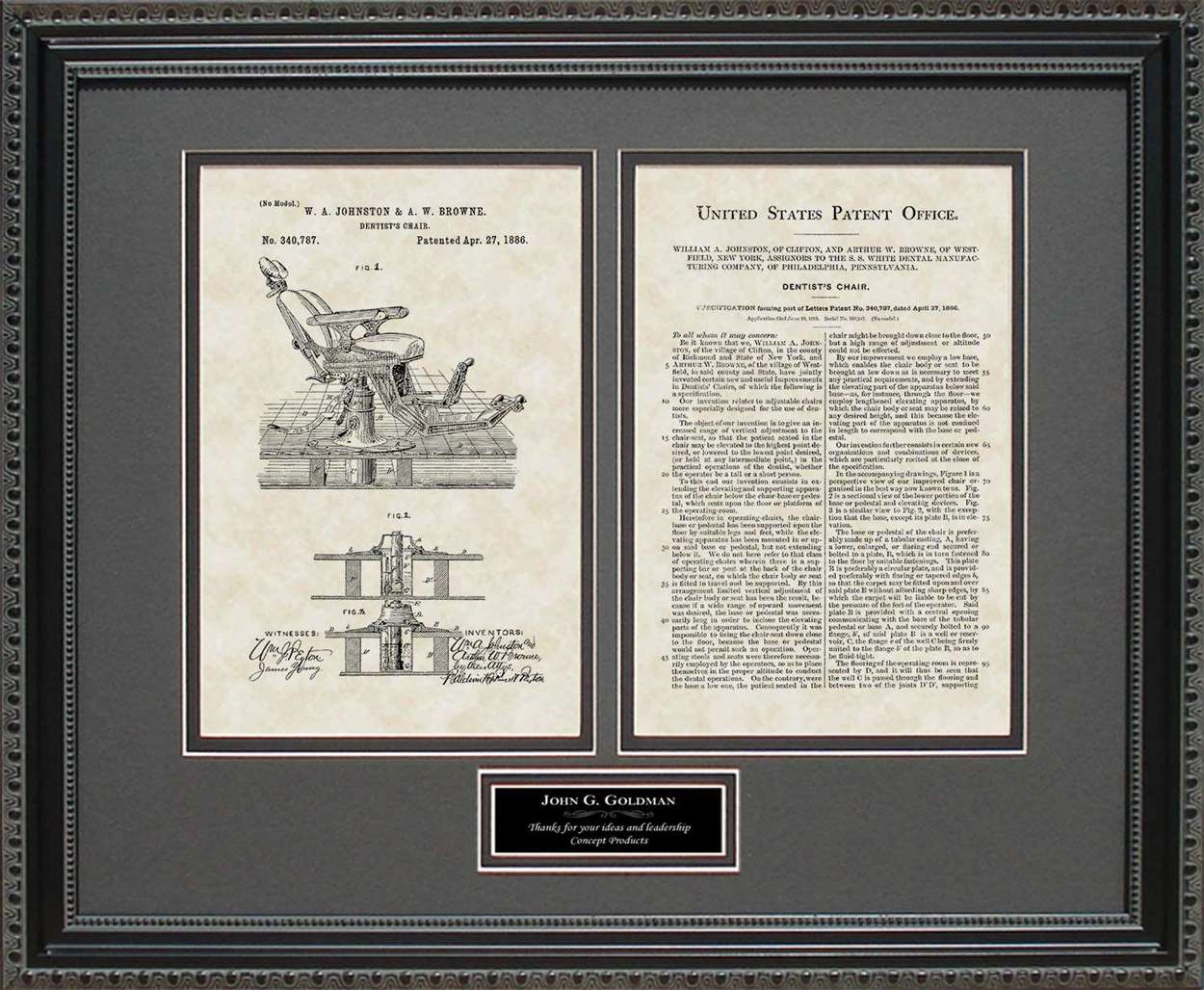 Personalized Dentist Chair Patent, Art & Copy, Johnston, 1886