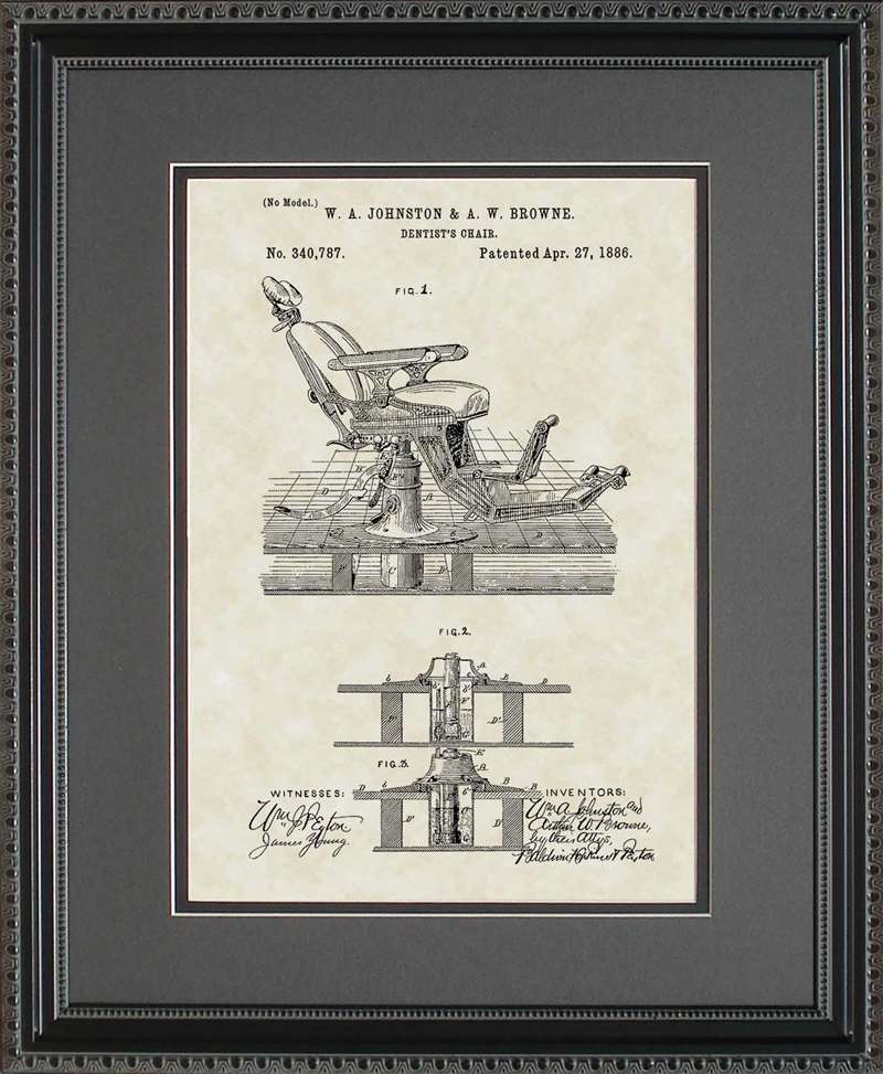 Dentist Chair Patent Art, Johnston, 1886, 11 X 14
