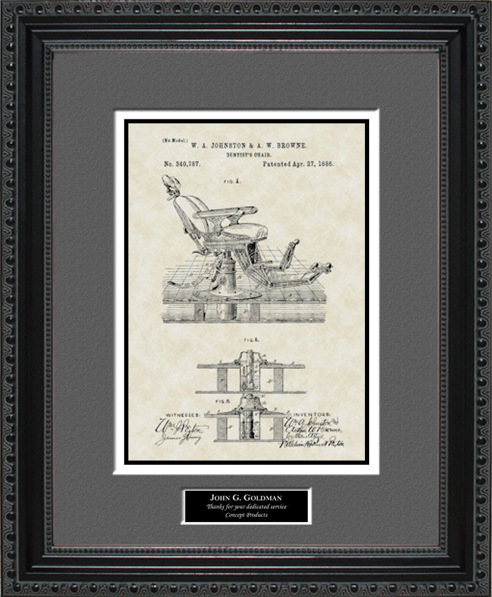 Personalized Dentist Chair Patent Art, Johnston, 1886