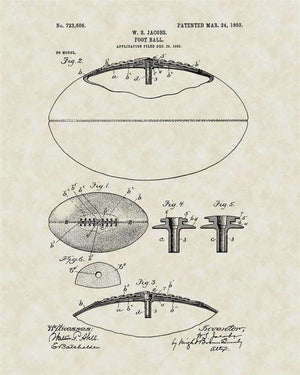 Football Patent Art, Jacobs, 1903