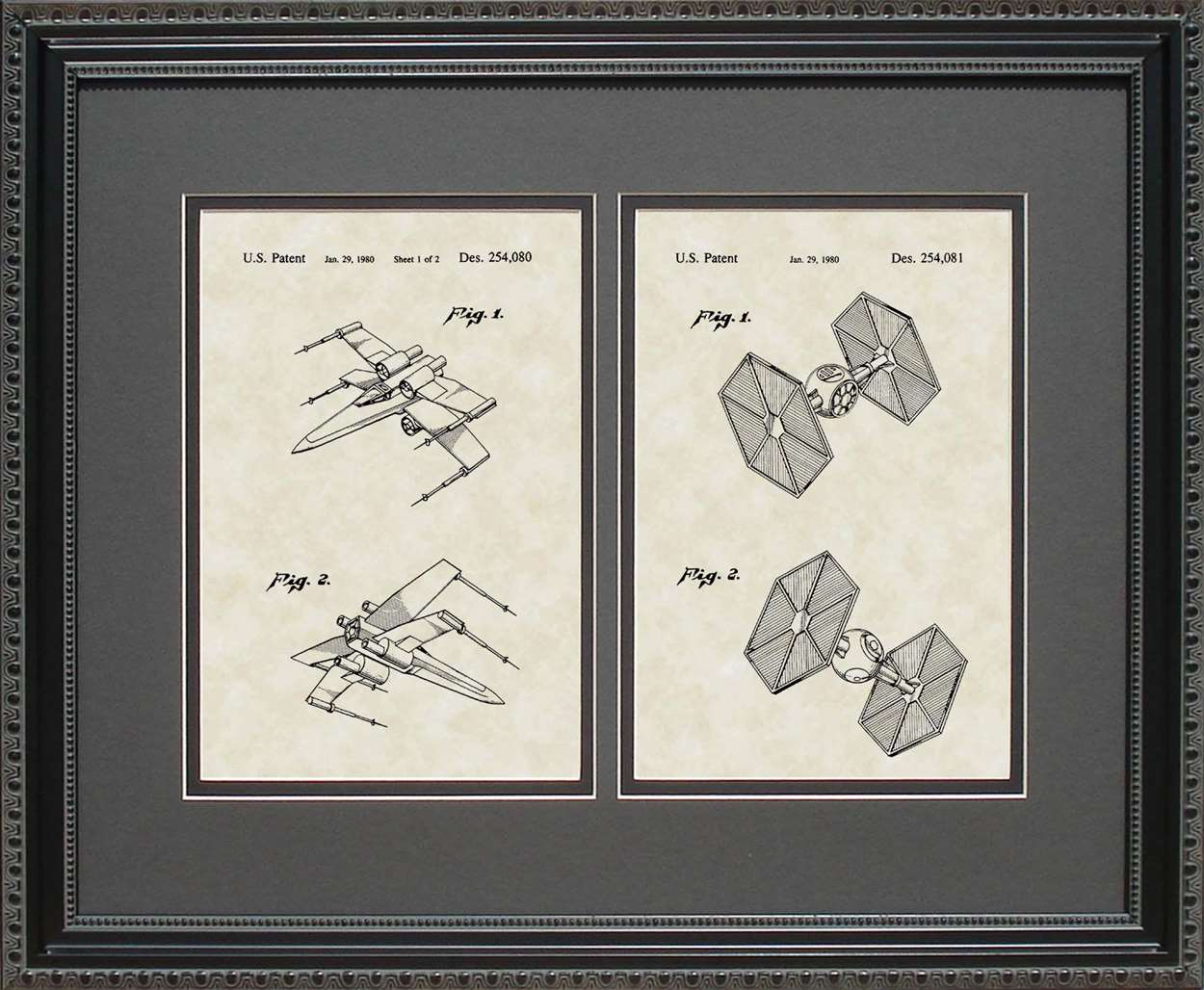X-wing Fighter & TIE Fighter Patents, 16x20