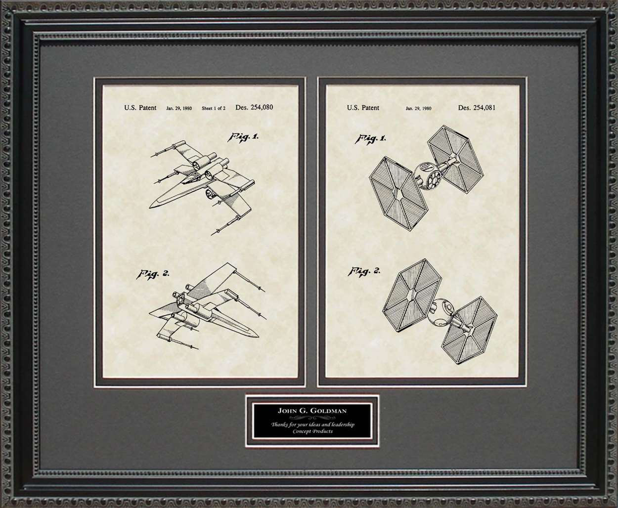 Personalized X-wing Fighter & TIE Fighter Patents, 16x20