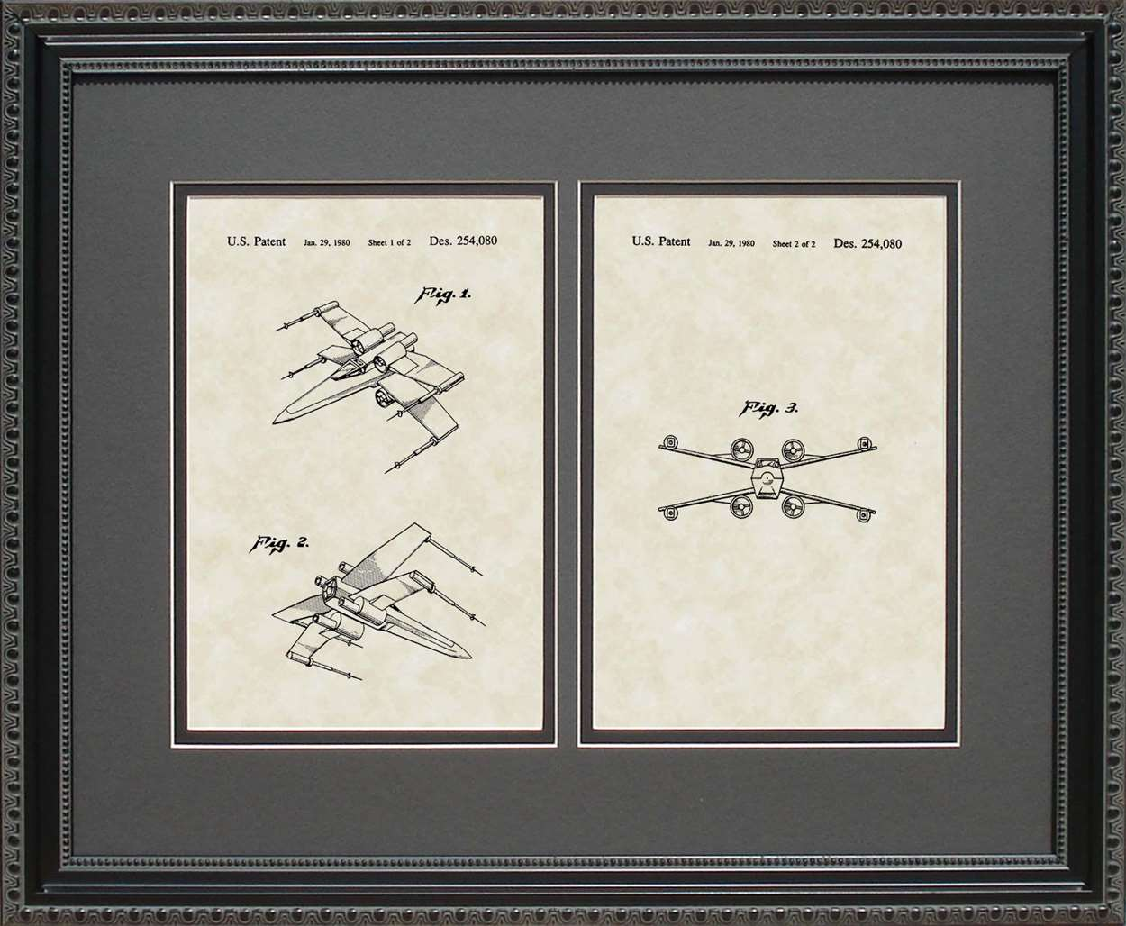 X-wing Fighter Patent, Art & Copy, Johnston, 1980, 16x20