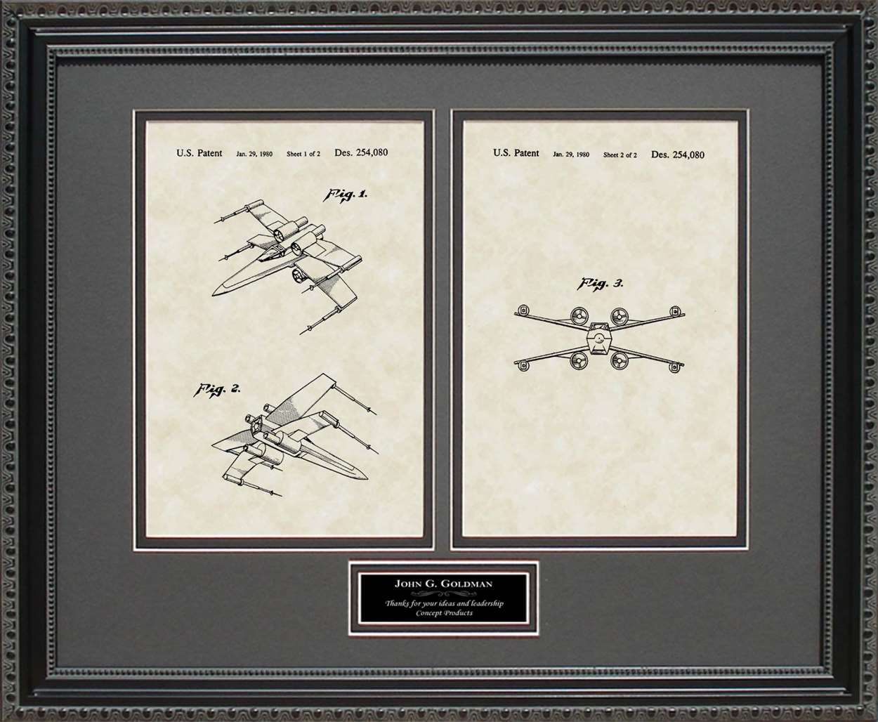 Personalized X-wing Fighter Patent, Art & Copy, Johnston, 1980