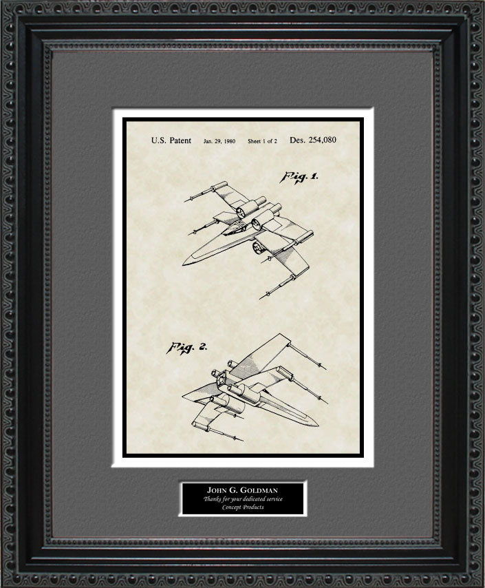 Personalized X-wing Fighter Patent Art, Johnston, 1980