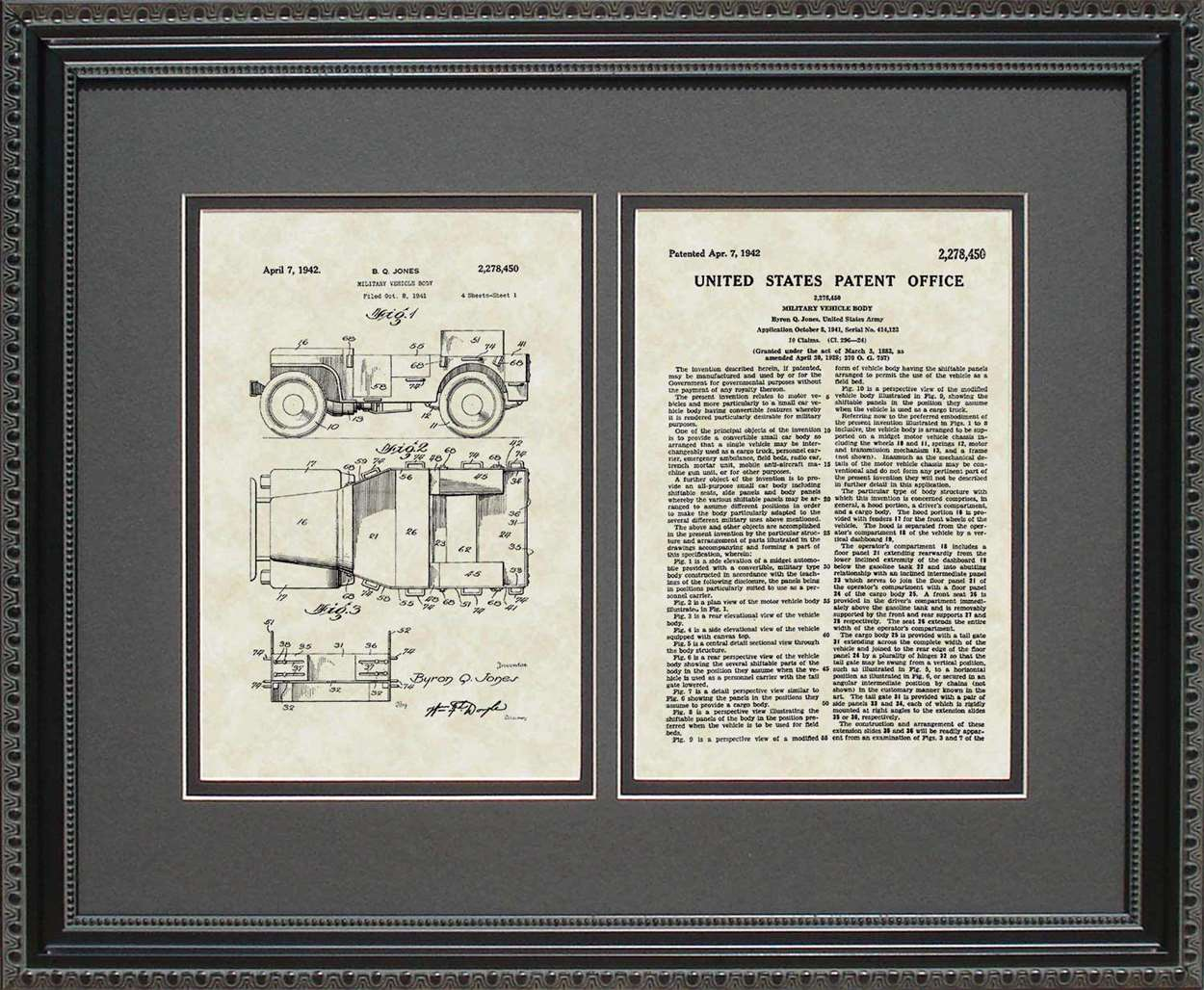 Jeep Willys Patent, Art & Copy, Jones, 1942, 16x20