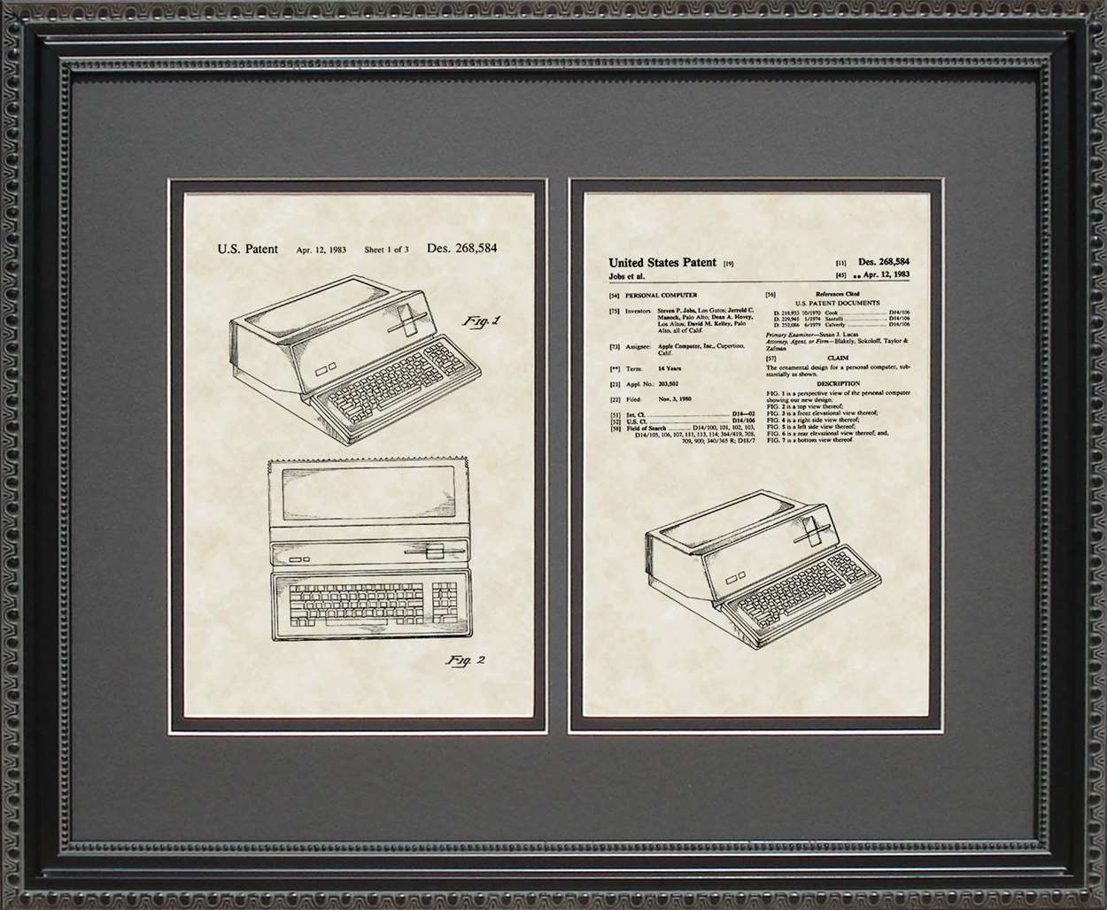 Apple Computer Patent, Art & Copy, Steve Jobs, 1983, 16x20