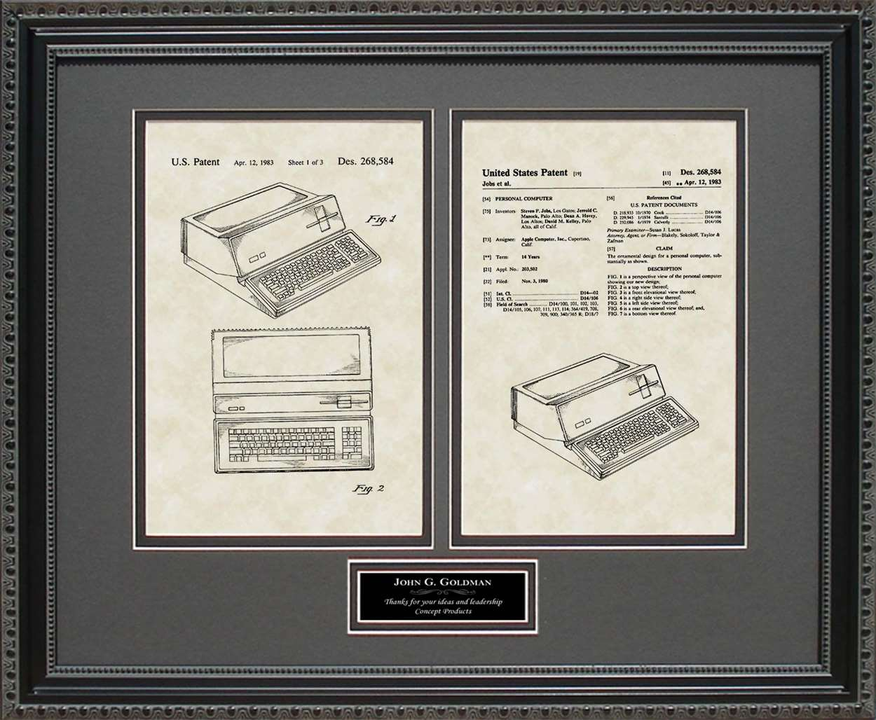 Personalized Apple Computer Patent, Art & Copy, Steve Jobs, 1983