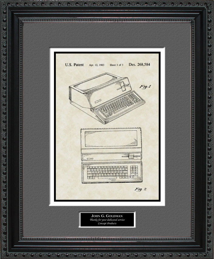Personalized Apple Computer Patent Art, Steve Jobs, 1983