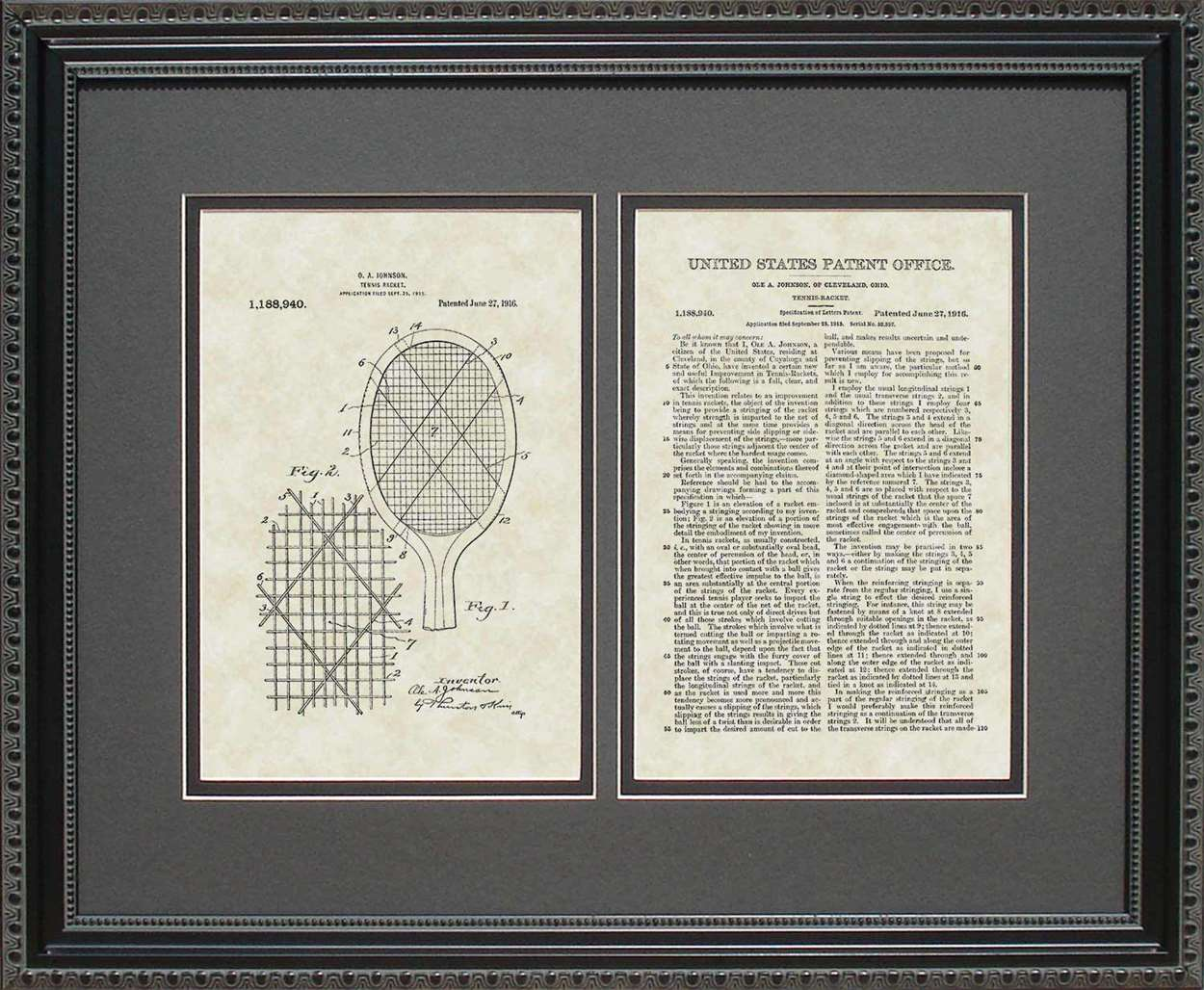 Tennis Racket Patent, Art & Copy, Johnson, 1916, 16x20