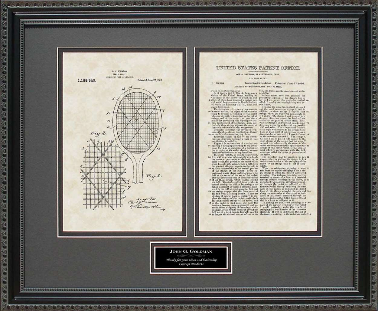 Personalized Tennis Racket Patent, Art & Copy, Johnson, 1916