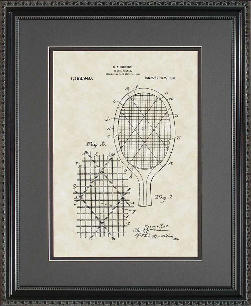 Tennis Racket Patent Art, Johnson, 1916