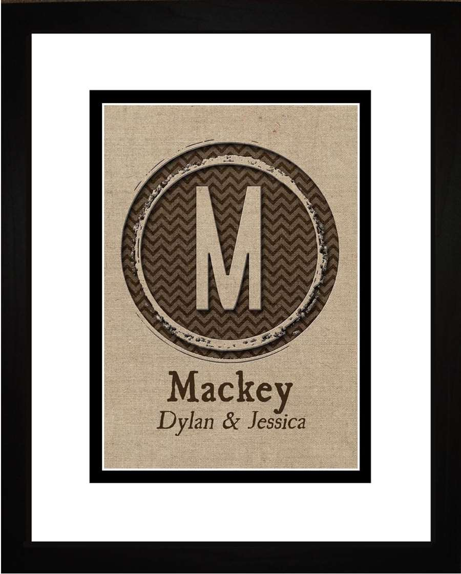 Burlap Personalized Family Monogram Initial Art, 11x14