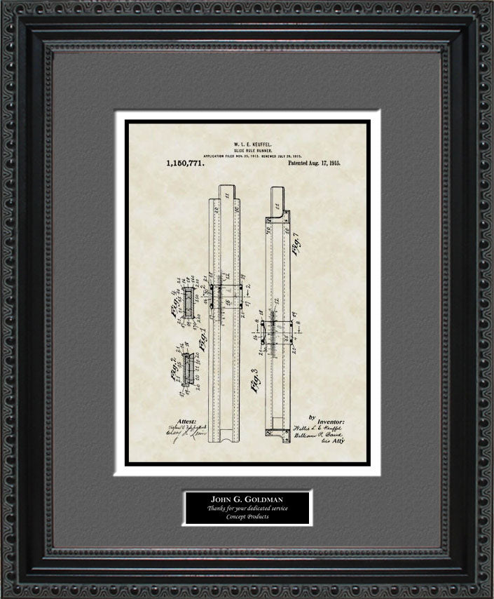 Personalized Slide Rule Patent Art, Keuffel, 1915