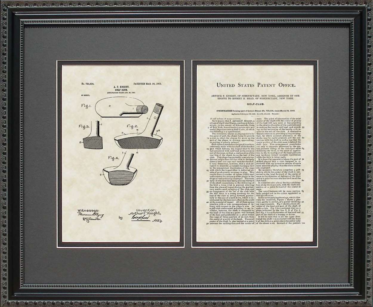 Golf Putter Patent, Art & Copy, Knight, 1903, 16x20