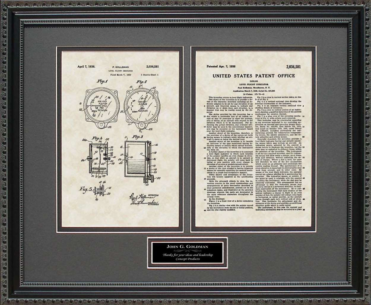 Personalized Altimeter Patent, Art & Copy, Kollsman, 1936