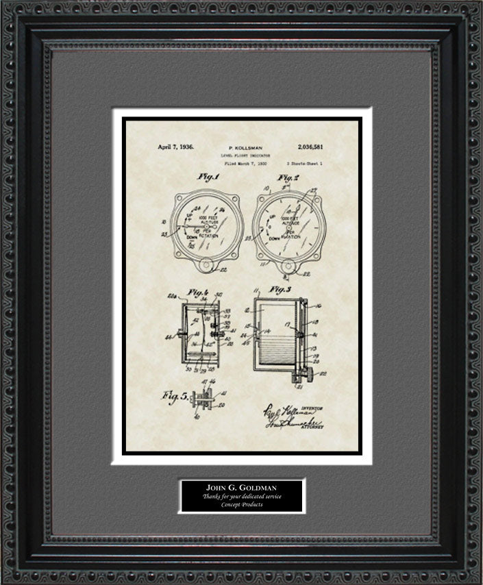 Personalized Altimeter Patent Art, Kollsman, 1936