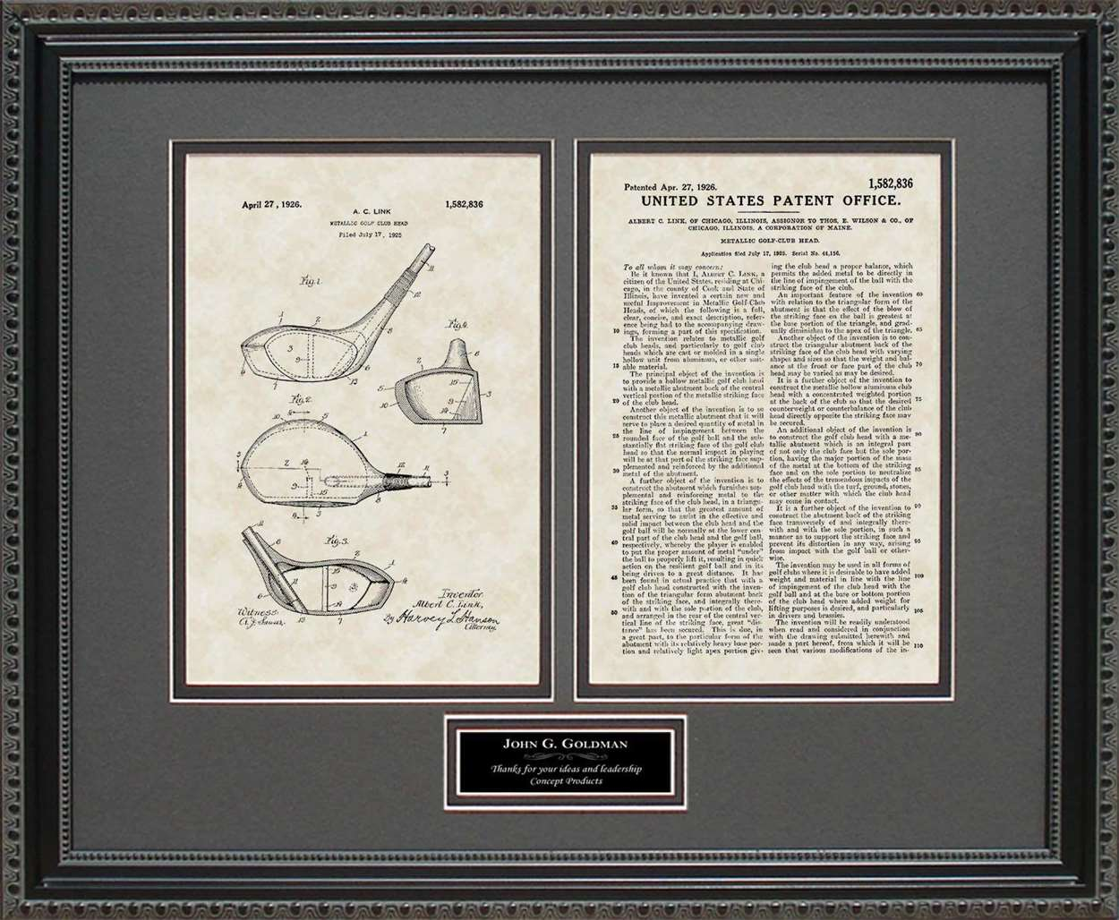 Personalized Golf Driver Patent, Art & Copy, Link, 1926