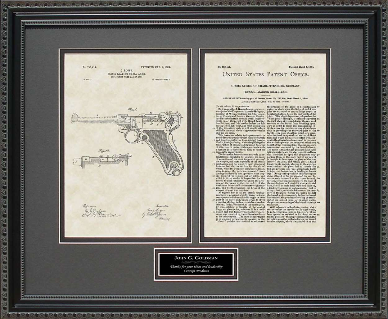 Personalized Luger Handgun Patent, Art & Copy, Luger, 1904