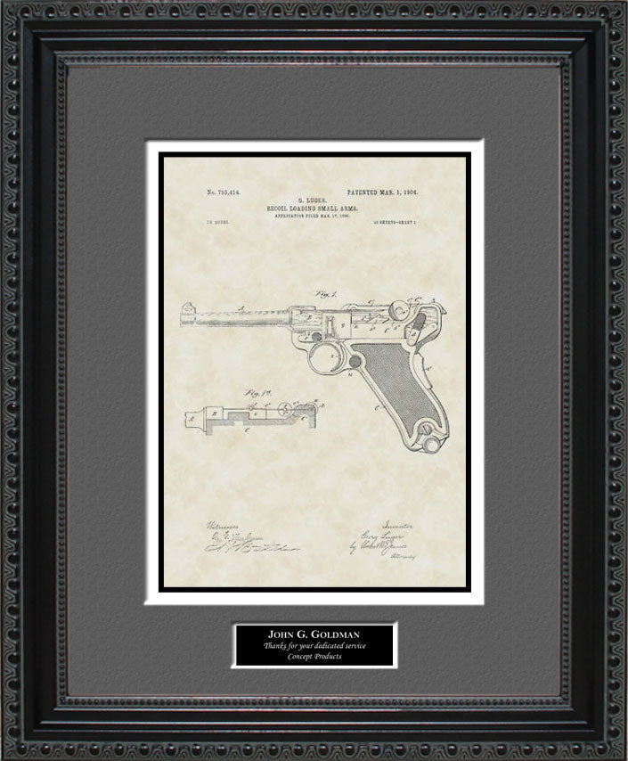 Personalized Luger Handgun Patent Art, Luger, 1904