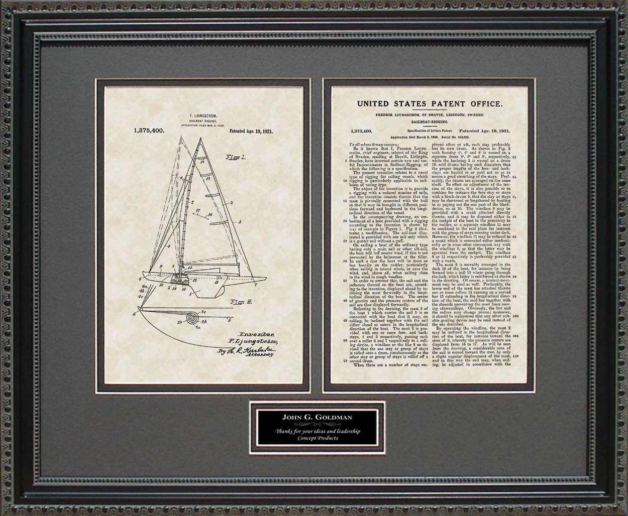 Personalized Sailboat Patent, Art & Copy, Ljungstrom, 1921