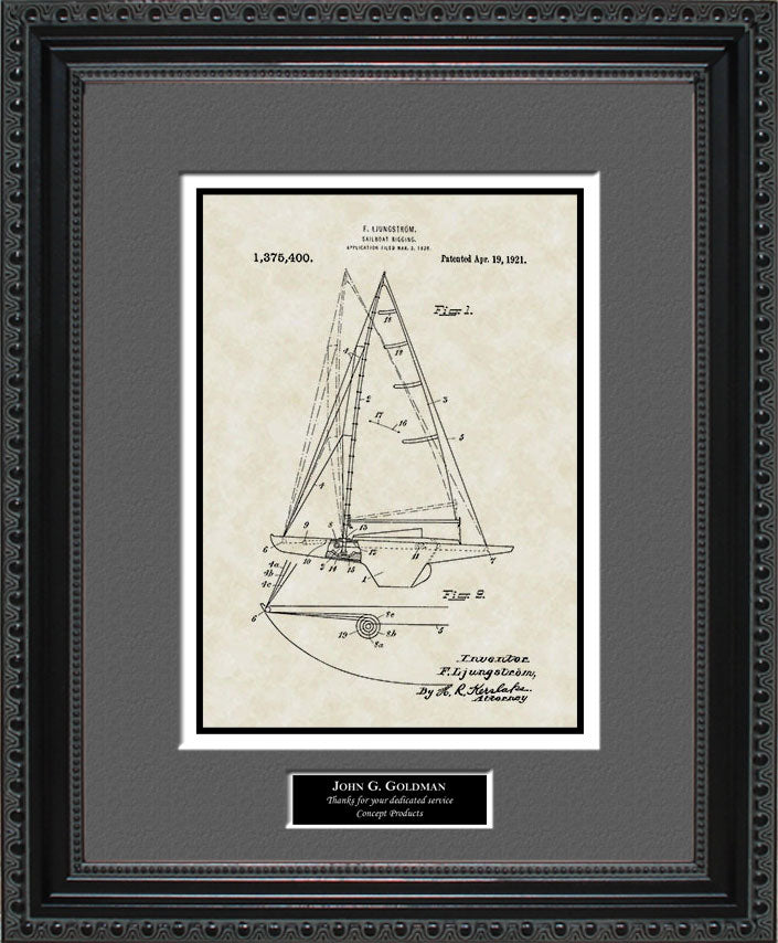 Personalized Sailboat Patent Art, Ljungstrom, 1921