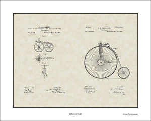 Early Bicycles Patents, 16x20