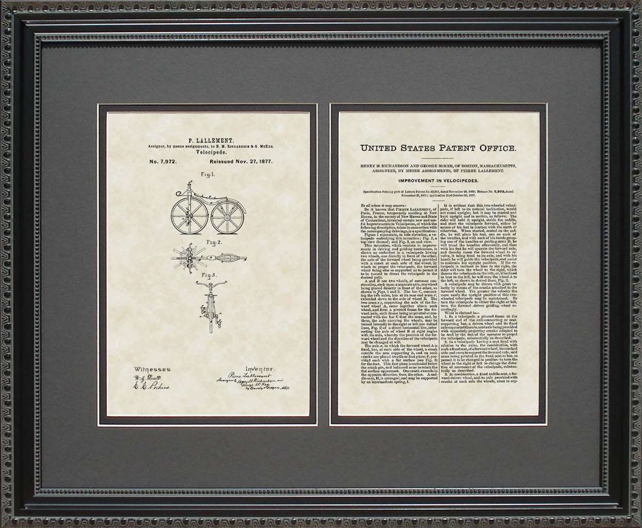 First Bicycle Patent, Art & Copy, Lallement, 1866, 16x20