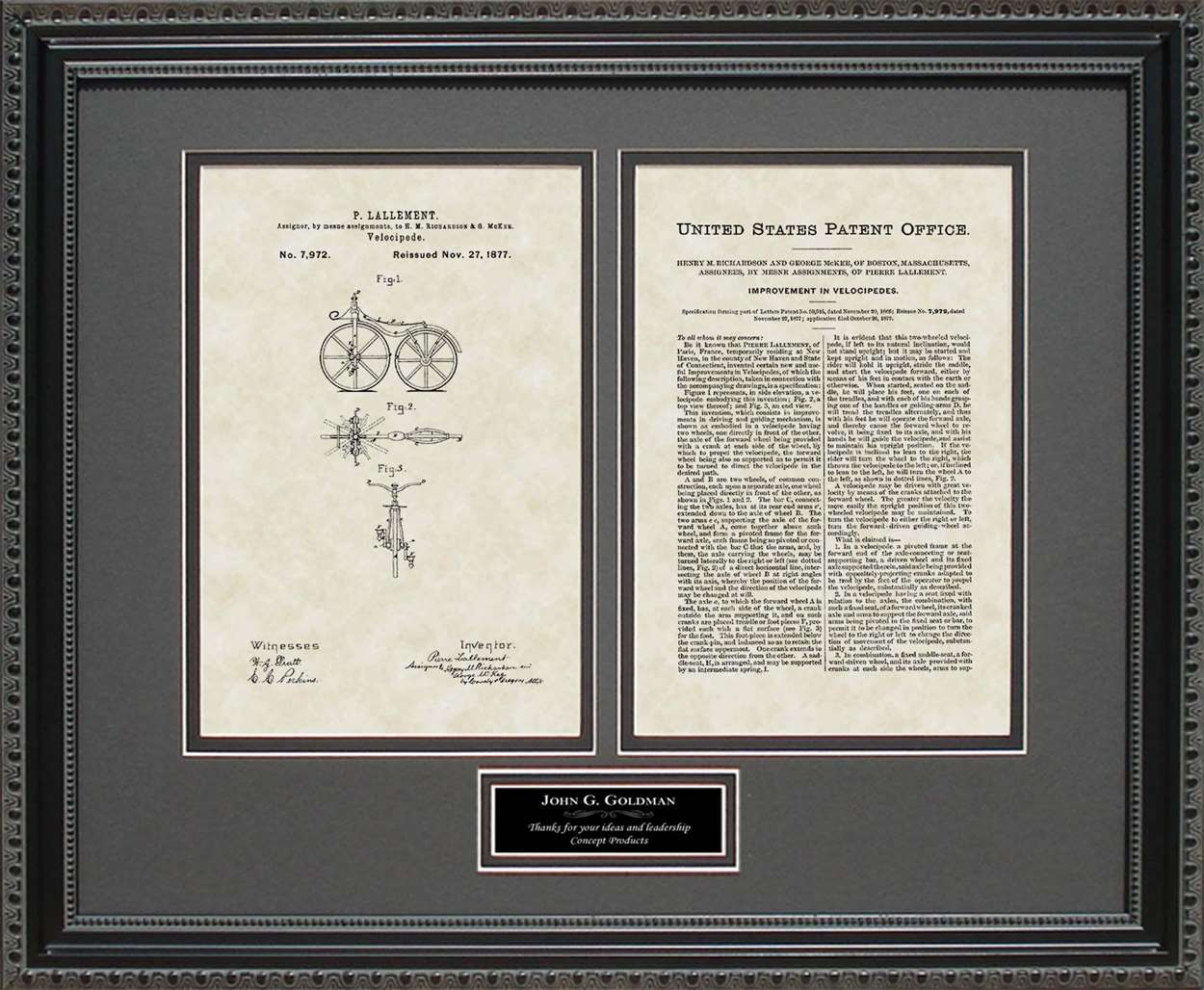 Personalized First Bicycle Patent, Art & Copy, Lallement, 1866