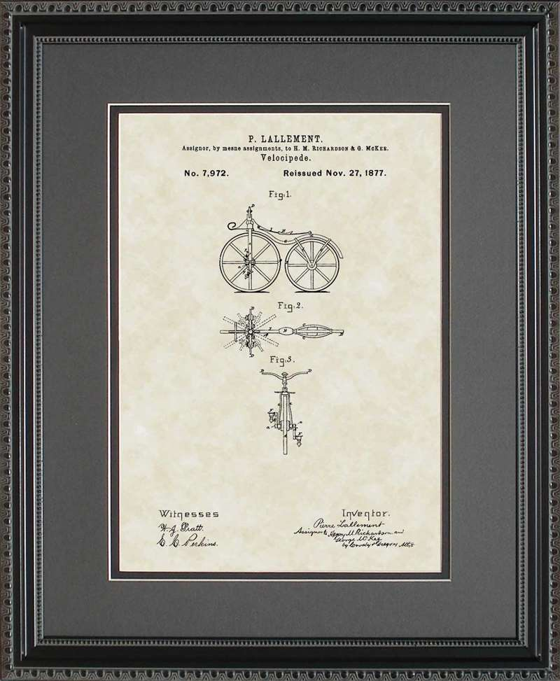 First Bicycle Patent Art, Lallement, 1866