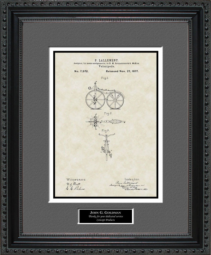 Personalized First Bicycle Patent Art, Lallement, 1866