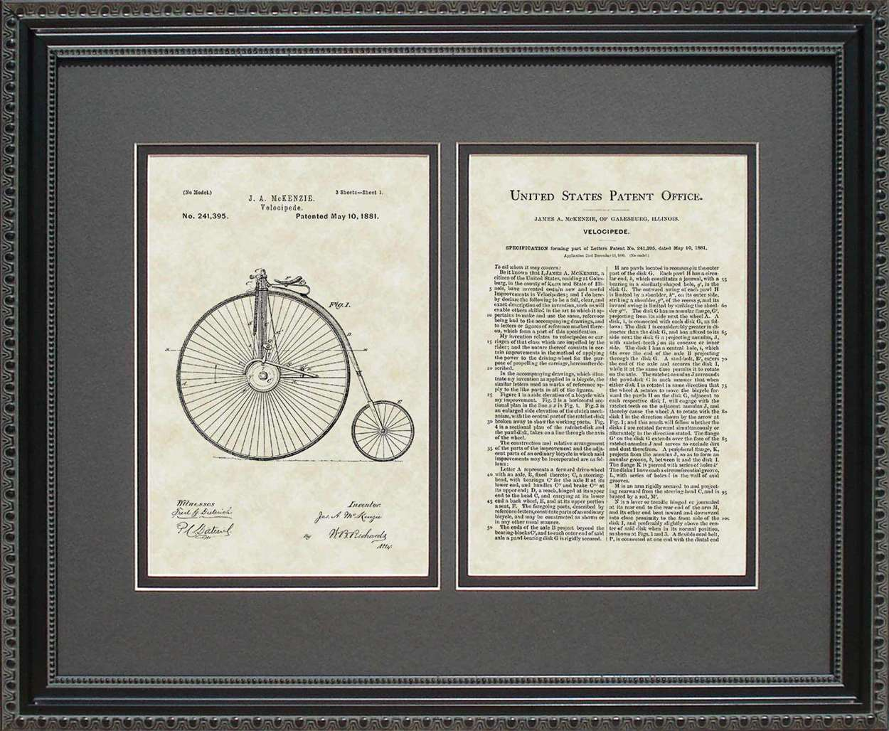 Penny-Farthing Bicycle Patent, Art & Copy, McKenzie, 1881, 16x20