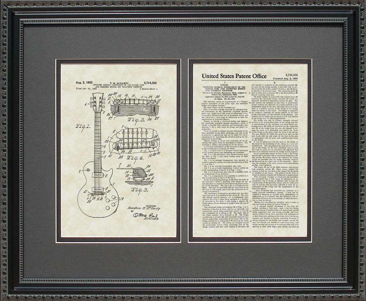 Electric Guitar Patent, Art & Copy, McCarty, 1955, 16x20